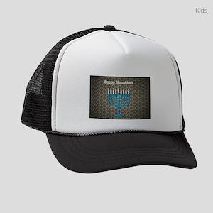 black happy hanukkah Kids Trucker hat
