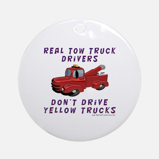 Red Tow Truck Gifts Ornament (Round)