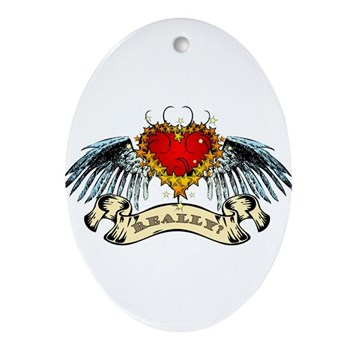 Really? Winged Heart Oval Ornament