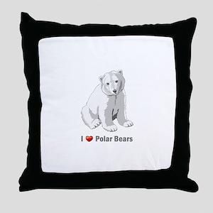 I love polar bears Throw Pillow