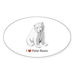 I love polar bears Oval Sticker (10 pk)