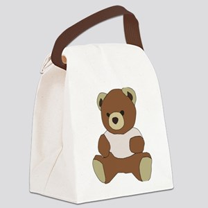 Cute Teddy Bear in Pink Top Canvas Lunch Bag
