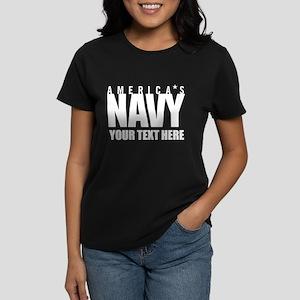 Personalized America's Navy Women's Dark T-Shirt