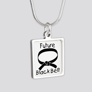 Future Black Belt Silver Square Necklace