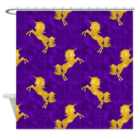 Golden Unicorns on Purple Shower Curtain
