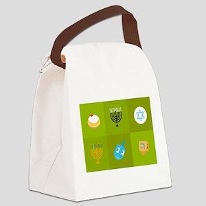 colorblock green hanukkah Canvas Lunch Bag