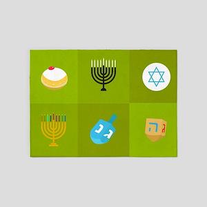 colorblock green hanukkah 5'x7'Area Rug