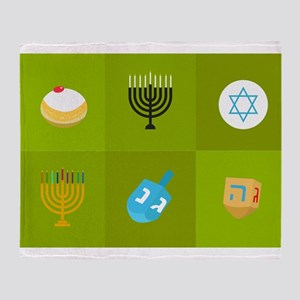 colorblock green hanukkah Throw Blanket
