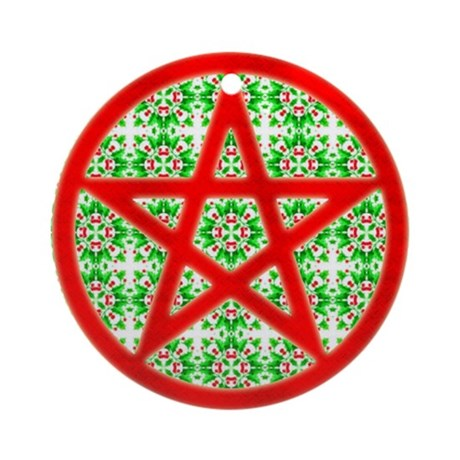 Red Pentagram Holly Yule Tree Ornament (Round)