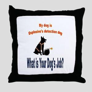 explosives detection k9 Throw Pillow