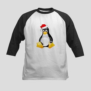 Tux The Christmas Penguin Kids Baseball Jersey