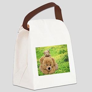 Cute Teddy Bears In A Meadow Canvas Lunch Bag