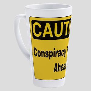 Caution Conspiracy Theory Ahead 17 oz Latte Mug