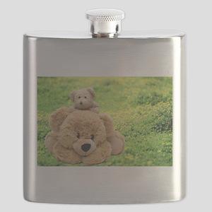 Cute Teddy Bears In A Meadow Flask