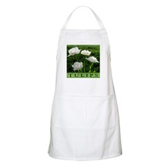 White Peony Tulip BBQ Apron
