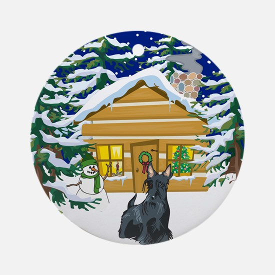 Old Fashioned Scottie Christmas Ornament (Round)