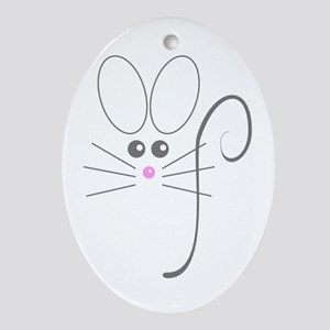 Gray Mouse Oval Ornament