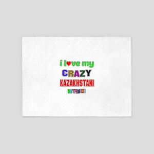 I Love My Crazy Kazakhstani Boyfrie 5'x7'Area Rug
