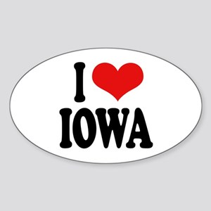 I Love Iowa Oval Sticker