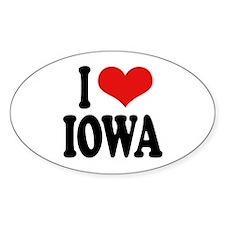 I Love Iowa Oval Sticker