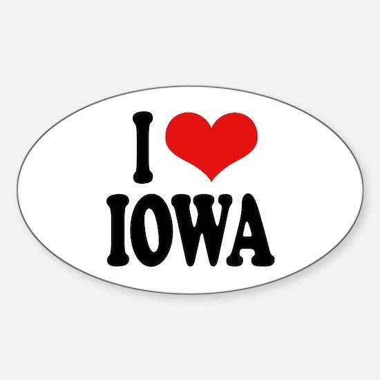 I Love Iowa Oval Stickers