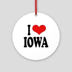 I Love Iowa Ornament (Round)