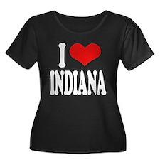 I Love Indiana Women's Plus Size Scoop Neck Dark T
