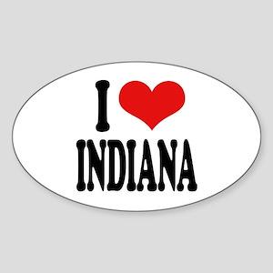 I Love Indiana Oval Sticker
