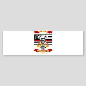 Wildland Firefighter Hero Thin Red Bumper Sticker