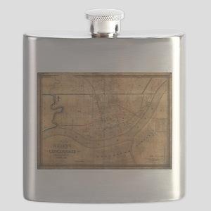 Vintage Map of Cincinnati Ohio (1838) Flask