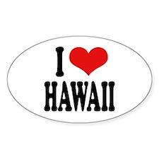 I Love Hawaii Oval Sticker