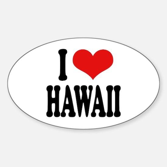 I Love Hawaii Oval Decal