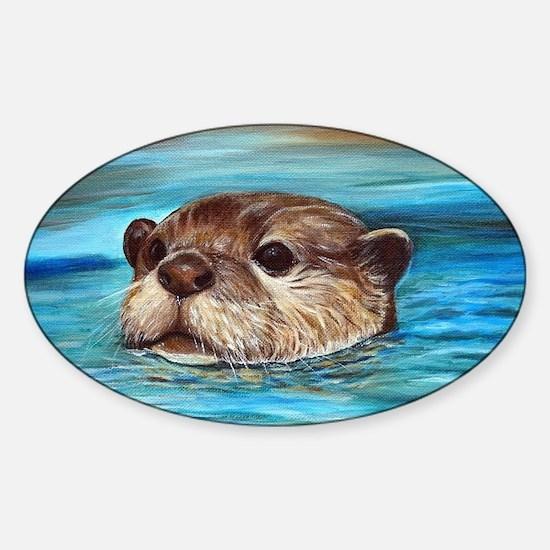 Funny River otter Sticker (Oval)