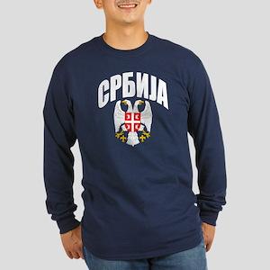 Serb Eagle Cyrillic Long Sleeve Dark T-Shirt
