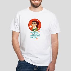 Grammar Girl Preposition White T-Shirt