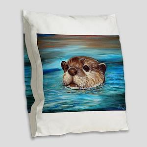 River Otter Burlap Throw Pillow