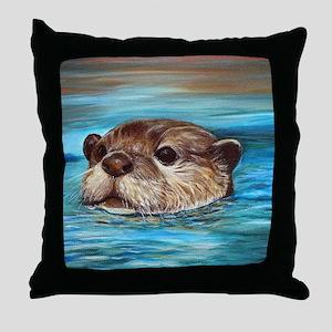 River Otter Throw Pillow