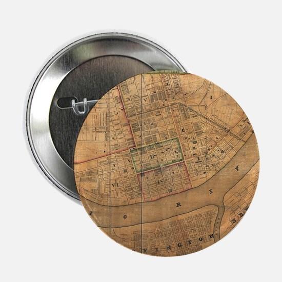 """Vintage Map of Cincinnati Ohio (1838) 2.25"""" Button"""