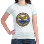 USS HARLAN COUNTY Jr. Ringer T-Shirt