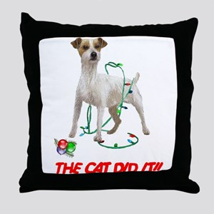 THE CAT DID IT!! Throw Pillow
