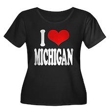 I Love Michigan Women's Plus Size Scoop Neck Dark