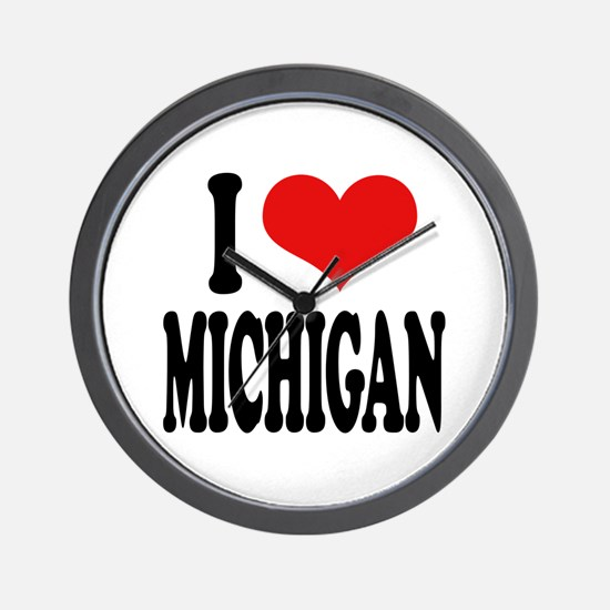 I Love Michigan Wall Clock