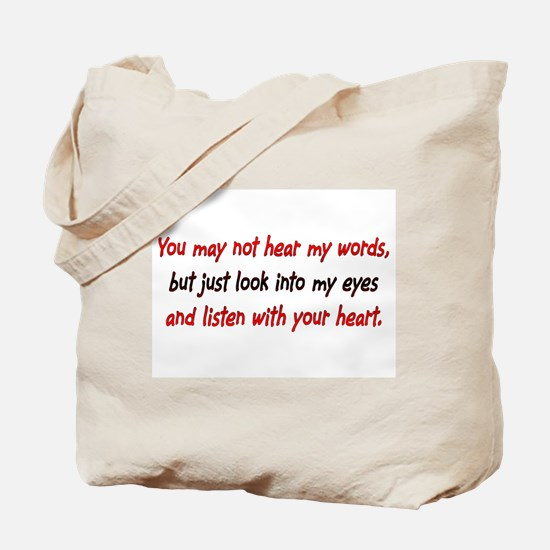 Listen Red Tote Bag