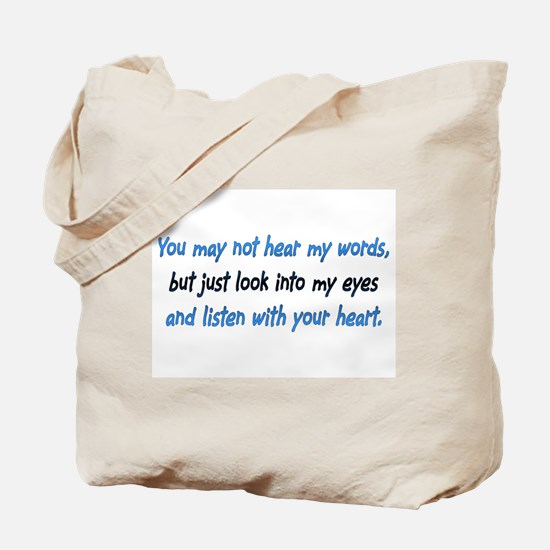 Listen Blue Tote Bag