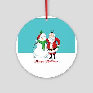 Santa Snowman Photo Ornament (Round)