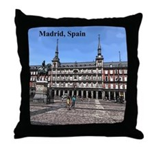 Comic Art of a plaza in Madrid, Spain Throw Pillow