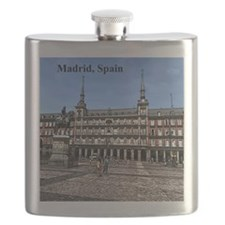 Comic Art of a plaza in Madrid, Spain Flask