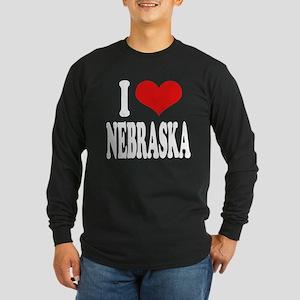I Love Nebraska Long Sleeve Dark T-Shirt