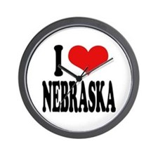 I Love Nebraska Wall Clock