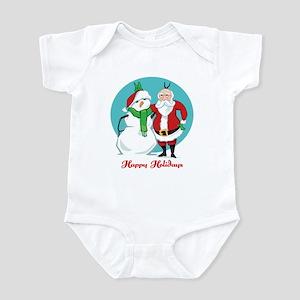 Santa Snowman Photo Infant Bodysuit